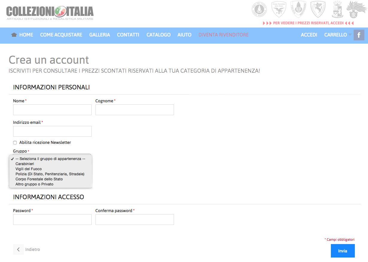 Registrazione su Collezioni Italia